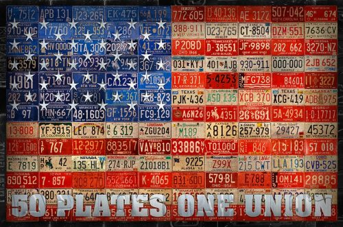 50 Plates One Union License Plate Art