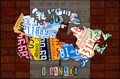 Oh Canada License Plate Map