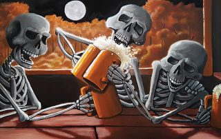 painting print by Jeffrey B Aubuchon of three skeletons drinking mugs of beer at a table on a full moon night