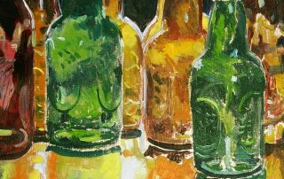 painting art print by Scott Clendaniel of brown, green and light brown beer bottles ready to be filled