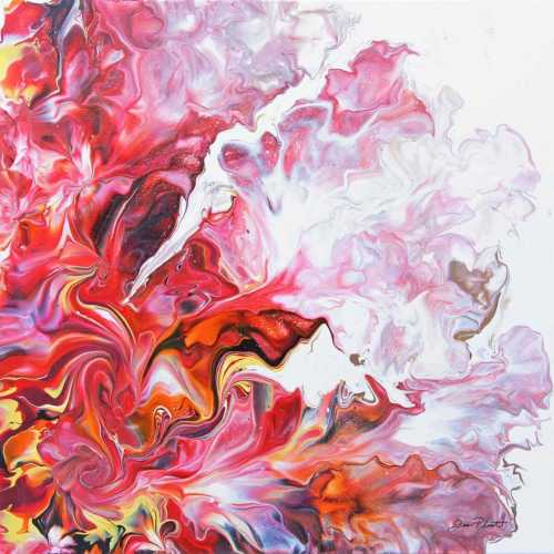 Abstract Pouring Fire Red