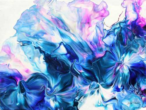 Abstract Pouring Blue and Purple