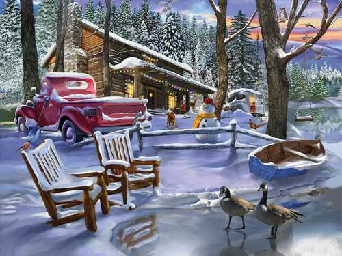 Winter Cabin with Red Truck